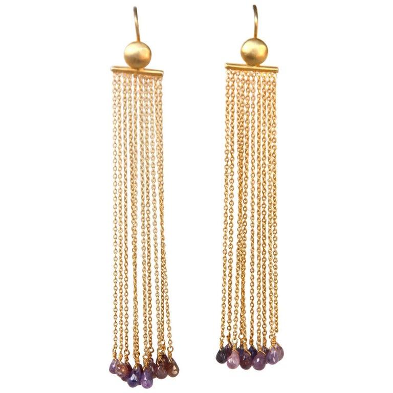 Chandelier Gold-Plated Fringe Briolè Tourmaline Drops Earring