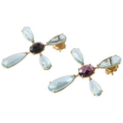 Aquamarine Tourmaline Gold Libellula Earrings
