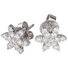 0.69 Carat Diamond White Gold Star Earring Studs