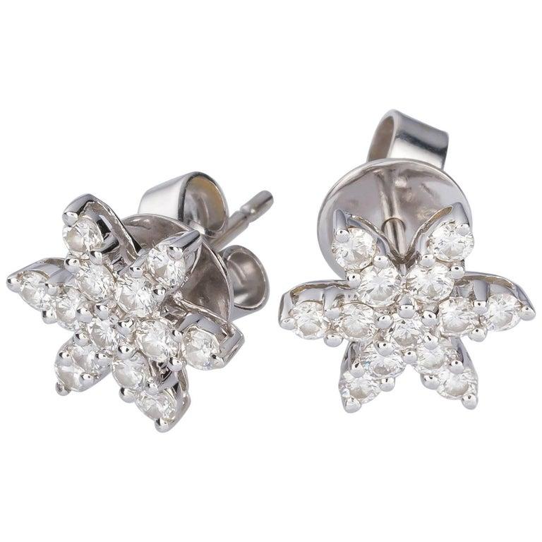 0 69 Carat Diamond White Gold Star Earring Studs For