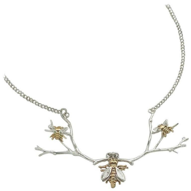 Triple Bee Sterling Silver Yellow Gold Necklace