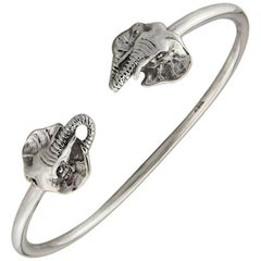 Solid Sterling Silver Elephant Bangle