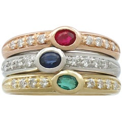 1970s Ruby, Sapphire, Emerald, Diamond and 18 Carat Gold Dress Ring