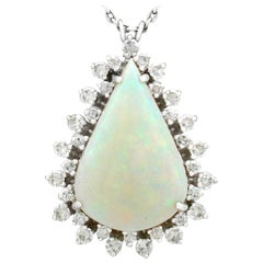 1970s 8.02 Carat Opal and 1.36 Carat Diamond White Gold Pendant