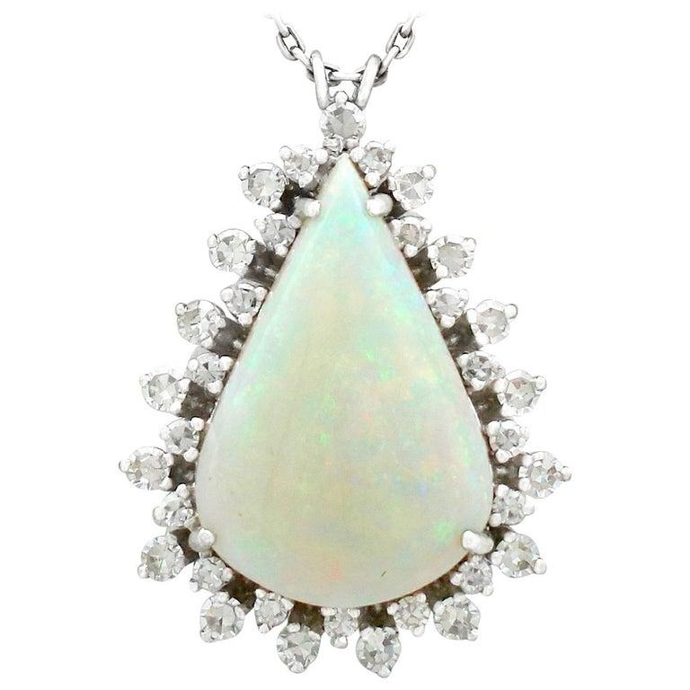 1970s 8.02 Carat Opal and 1.36 Carat Diamond White Gold Pendant