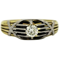 Antique French Art Deco 18 Karat Gold Men's Ring with Diamond '0.33 Carat'