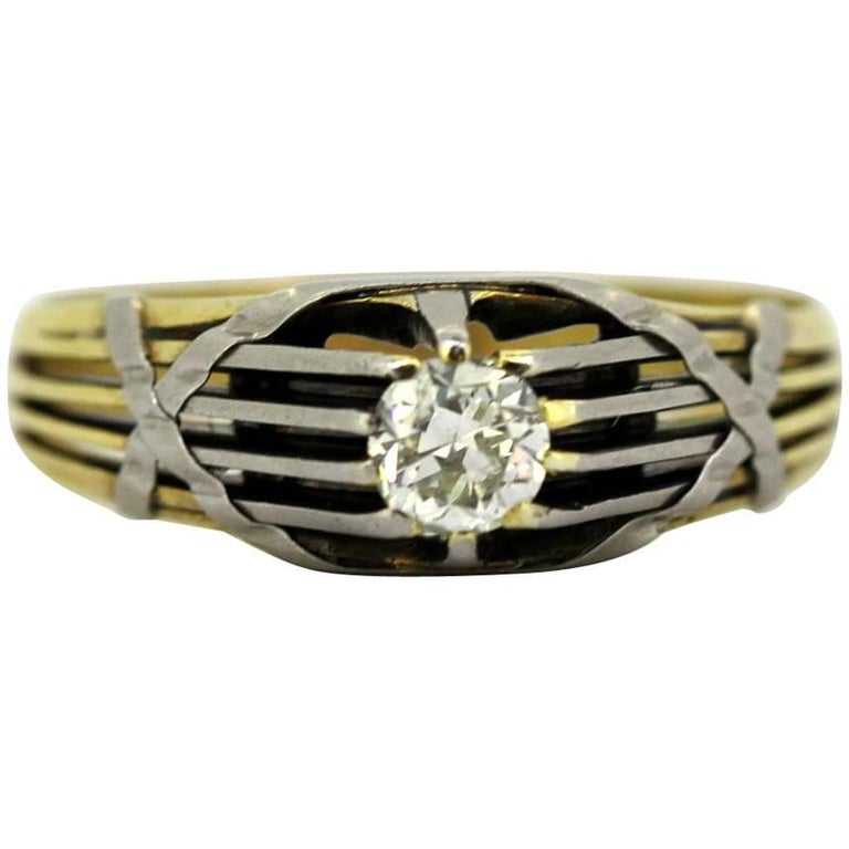 Antique French Art Deco 18 Karat Gold Men's Ring with Diamond '0.33 Carat'