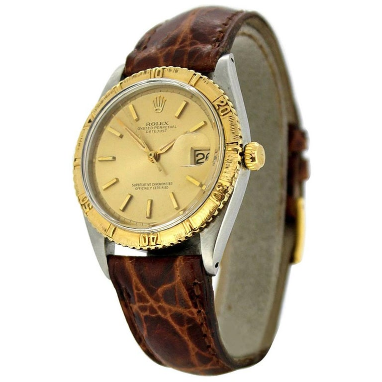 "Rolex Oyster Perpetual DateJust ""Thunder Bird"" Turn-o-Graph with 18k Gold Bezel"