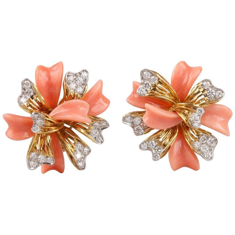 Fred Paris  Coral Diamond Earrings