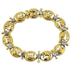 Antique French Art Deco 18 Karat Gold Ladies Bracelet with Old Cut Diamonds
