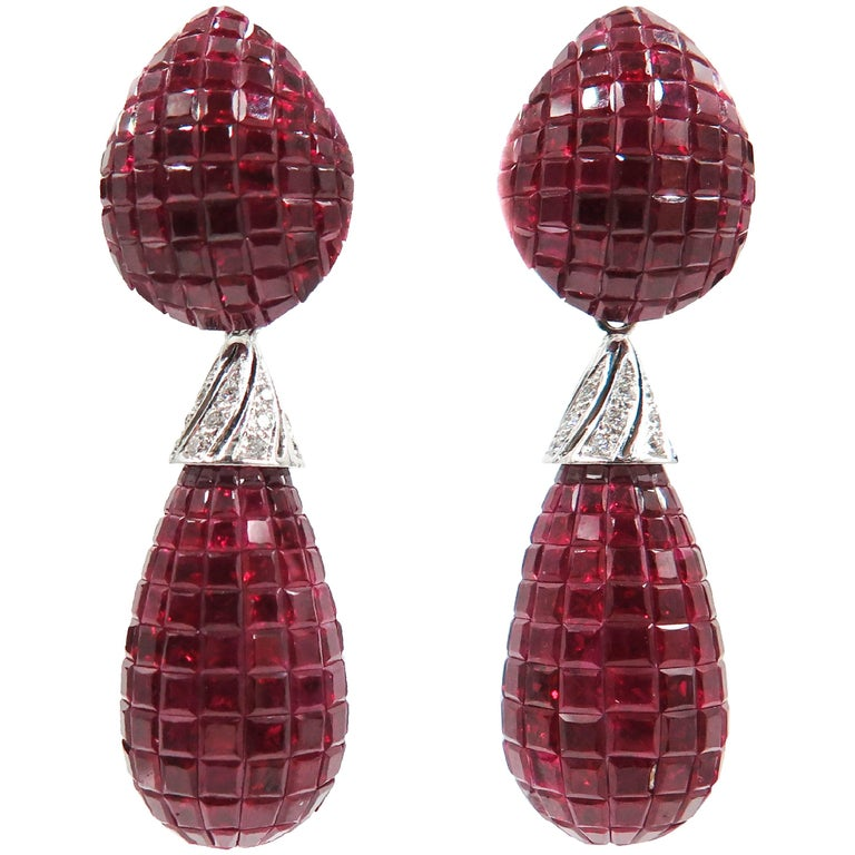 Invisible Set Ruby and Diamond Drop Earrings