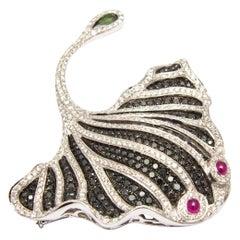 18 Karat White Gold Diamond Ruby Tourmaline Black Gem Stingray Brooch or Pendant
