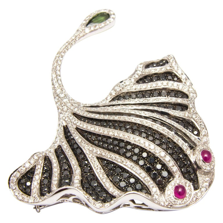 White Gold, Diamond, Ruby, Tourmaline and Black Gem Stingray Brooch/Pendant