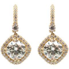 Halo Diamond Drop Gold Earrings