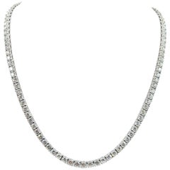 Straight Diamond Line White Gold Necklace