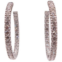 Inside Out White Gold Diamond Hoops
