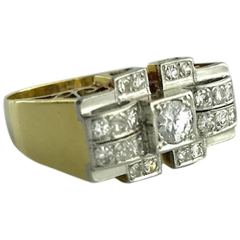 1920S Art Deco Diamond Platinum and Yellow Gold Ring