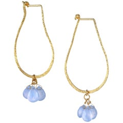 Teardrop Gold Earrings with Chalcedeny Charms