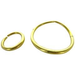 1980s Ilias Lalaounis Yellow Gold Bangle Bracelet and Torc Necklace
