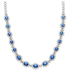Sapphire, White Gold and Diamond Necklace