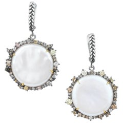 Pearl Coin and Diamond Earrings