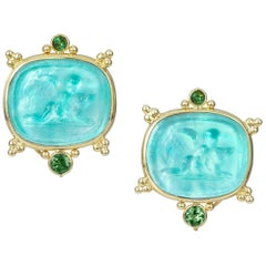 Mazza Venetian Glass Earrings with Green Tourmaline