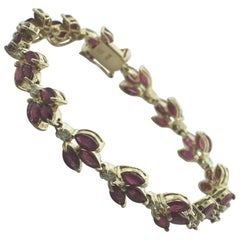 Ruby and Diamond Straight Line Custom Tennis Link Bracelet in 14 Karat Gold
