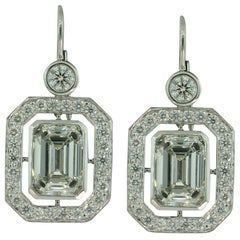 Emerald Cut Diamond Earrings in Platinum