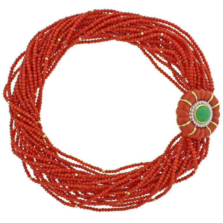 David Webb Coral Torsade Diamond and Emerald Necklace