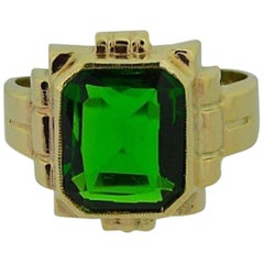 Solid Gold Hand Constructed Art Deco Ring Set with Synthetic Emerald