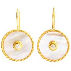 Gold Diamond Mother-of-Pearl Dangle Earring Interchangeable