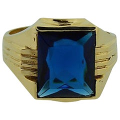 Solid Gold Art Deco Hand Constructed Ring Set with Synthetic Sapphire