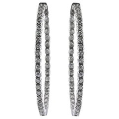 Mark Broumand 3.75 Carat Round Brilliant Cut Diamond Hoop Earrings