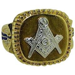 Solid Two-Tone Gold Art Deco Masonic Lodge Ring