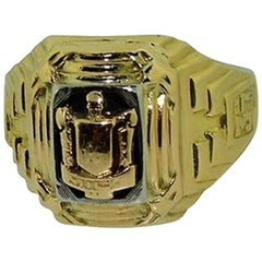 Solid Gold Art Deco Two-Tone Ring Engraved, 1937
