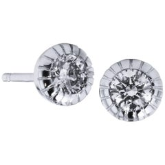 H & H 0.38 Carat Ten-Prong Bezel-Set Stud Earrings