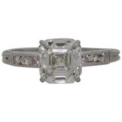 1.80 Carat  Asscher Cut Diamond Platinum Engagement Ring