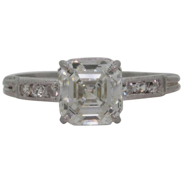Vintage Asscher Cut Diamond Platinum Engagement Ring