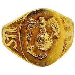 Solid Gold Art Deco U.S. Military Die Struck Ring