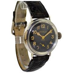 J.W. Benson Sterling Silver Campaign Style Black Enamel Dial Manual Watch