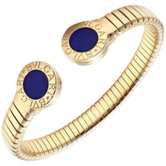 Bulgari Yellow Gold Tubogas Lapis Lazuli Bangle Bracelet