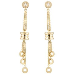 Bulgari Yellow Gold Diamond B.Zero1 Drop Earrings