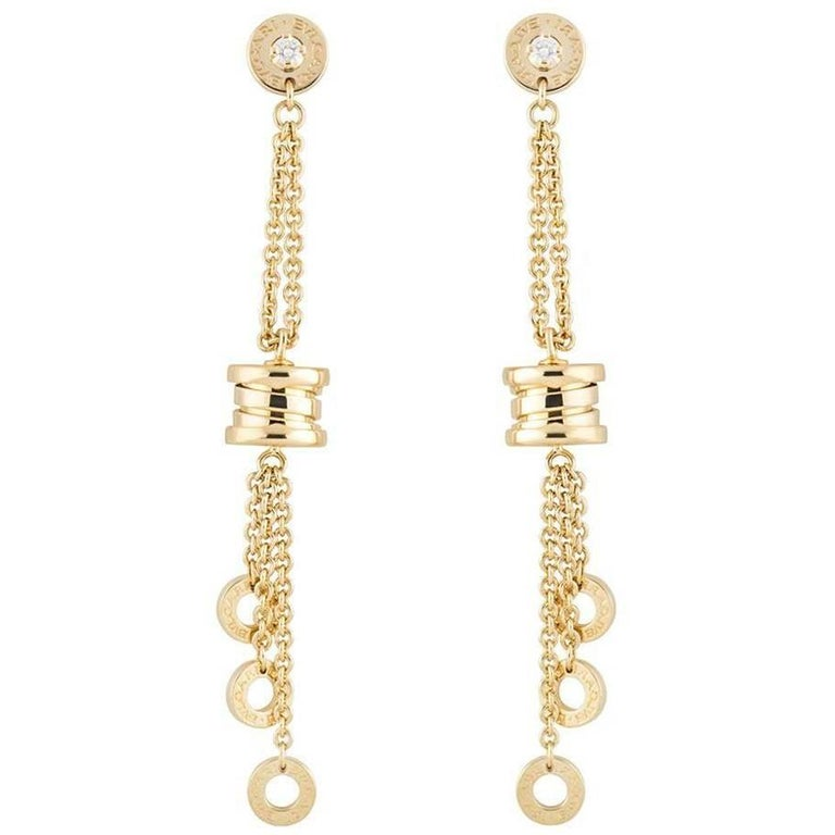 Bulgari Yellow Gold Diamond B.Zero1 Drop Earrings