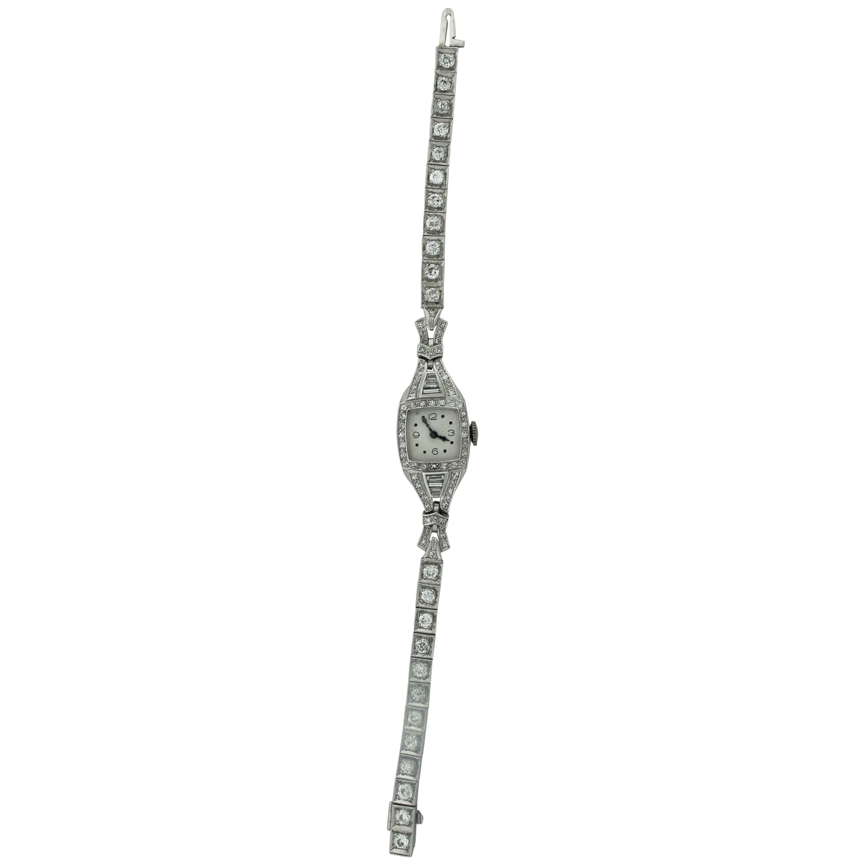 Diamond Elgin Watch, circa 1940s in Platinum