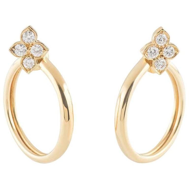 Cartier Yellow Gold Hindu Diamond Earrings