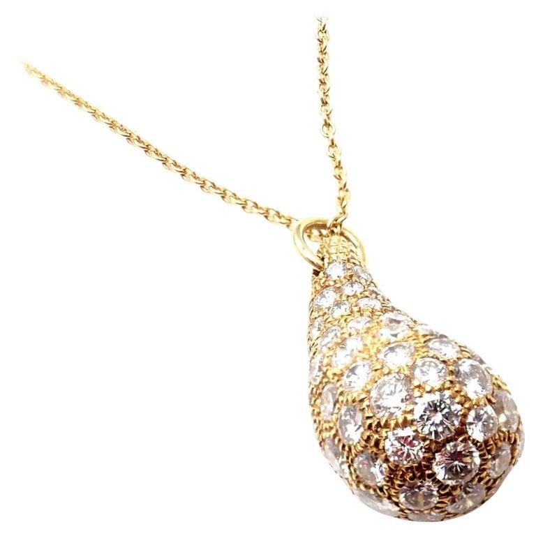 Tiffany & Co. Elsa Peretti Diamond Large Teardrop Yellow Gold Pendant Necklace