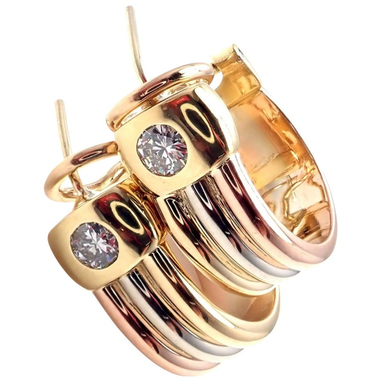 Cartier Trinity Diamond Tri-Color Gold Hoop Earrings
