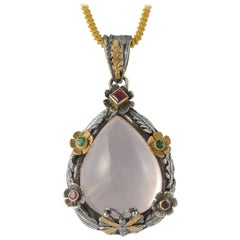 Emma Chapman Rose Quartz Emerald Ruby Yellow Gold Silver Pendant