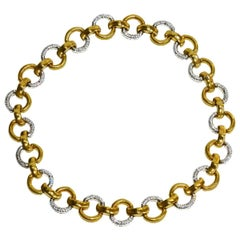 Important Large Gucci Bamboo Gold and Diamond Link Necklace