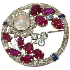 Gorgeous Art Deco Diamond, Carved Ruby, Moonstone Floral Brooch
